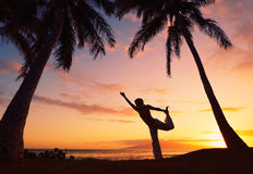 Beautiful Yoga Woman at Sunset Stock Image