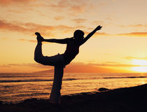 Beautiful Yoga Woman at Sunset Royalty Free Stock Image