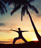 Beautiful Yoga Woman at Sunset Royalty Free Stock Photos