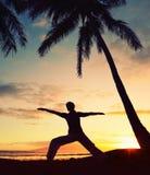Beautiful Yoga Woman at Sunset Royalty Free Stock Photos