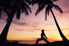 Beautiful Yoga Woman at Sunset Stock Photography