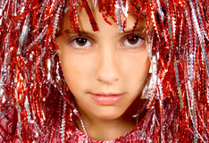 Beautiful yong girl with carnival wig Royalty Free Stock Images