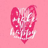 Beautiful You Make Me Happy inscription or phrase handwritten with calligraphic font against pink hand drawn heart on. Background. Romantic vector illustration royalty free illustration