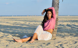 Beautiful youn biracial woman on beach Royalty Free Stock Photography