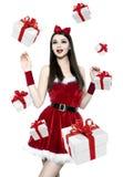 Beautiful youn brunette woman - christmas portrait Royalty Free Stock Image