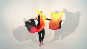 Beautiful young acrobat dance in slow motion stock video