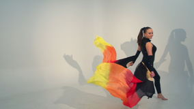 Beautiful young acrobat dance in slow motion stock video footage