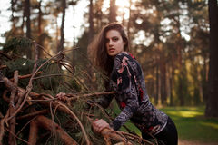 Beautiful young adult girl lying on a fallen tree Royalty Free Stock Photography