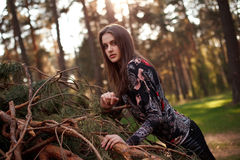 Beautiful young adult girl lying on a fallen tree Stock Photo