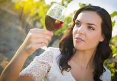 Beautiful Young Adult Woman Enjoying A Glass of Wine in Vineyard Royalty Free Stock Image