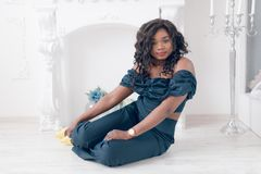 Fashion portrait of young beautiful african american girl royalty free stock images
