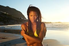 Beautiful young african american woman at the beach Royalty Free Stock Photo