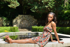 Beautiful young African American woman in floral sundress Stock Photography