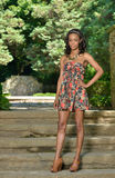 Beautiful young African American woman in floral sundress Royalty Free Stock Photos