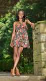 Beautiful young African American woman in floral sundress Stock Image