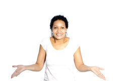 Woman shrugging her shoulders Royalty Free Stock Images