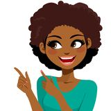 Woman Gesturing Hands. Beautiful young African American woman smiling gesturing with hands and pointing fingers stock illustration