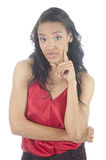 Beautiful young african american woman thinking Stock Photos