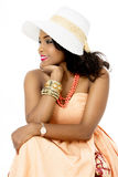Beautiful Young African Female Model, Sitting, Looking Sideways Stock Images