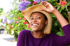 Beautiful young african lady standing outdoors Stock Images