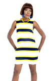 Beautiful Young African Woman Dressed in Striped Casual Dress Royalty Free Stock Photos