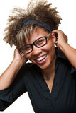Beautiful Young African Woman Laughing Royalty Free Stock Photos