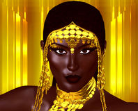 A beautiful young African woman wearing gold jewelry against a gold abstract background. A unique digital art creation of fashion. Royalty Free Stock Photography