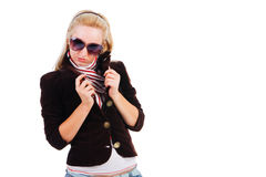 Beautiful young alluring girl in jacket Stock Photo