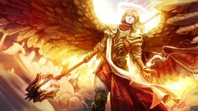 Beautiful young angel girl in heavy gold plate armor, with beautiful red fabrics. She walks through the clouds in the sky with a huge mace in her hands
