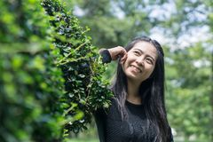 Beautiful young asia woman in the garden. royalty free stock photography