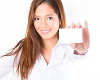 Asian business woman on white background with copy space stock photo