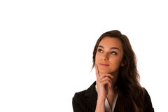 Beautiful young asian caucasian business woman looking in to cop Stock Photography