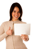 Beautiful young asian caucasian woman holding a blank card Stock Images