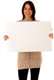 Beautiful young asian caucasian woman with whiteboard. Isolated over white background Royalty Free Stock Photo