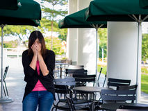 Beautiful Young Asian - Chinese Woman Sneezing / Cough.  Royalty Free Stock Photography