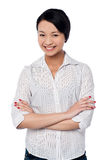 Beautiful young asian girl, arms folded Royalty Free Stock Photography