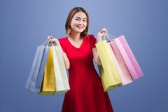 Beautiful young asian woman with colored shopping bags over viol. Et background Stock Photography
