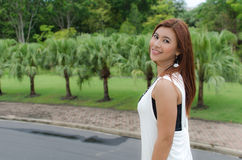 Beautiful young Asian woman in the countryside Royalty Free Stock Photo