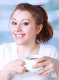 Beautiful young asian woman drinking coffee Stock Photo