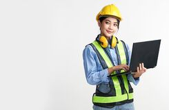 Free Beautiful Young Asian Woman Engineer And Safety Helmet On White Background, Construction Concept, Engineer, Industry Royalty Free Stock Photo - 220595085