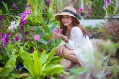 Beautiful young asian woman enjoying the freshness Royalty Free Stock Images
