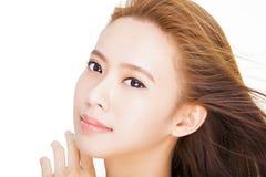 Beautiful  young asian woman face Royalty Free Stock Photos