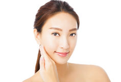 Beautiful young asian woman face isolated on white Stock Photos