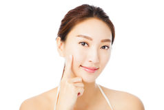 Beautiful young asian woman face isolated on white Stock Photo