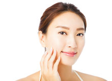 Beautiful young asian woman face isolated on white Royalty Free Stock Photography