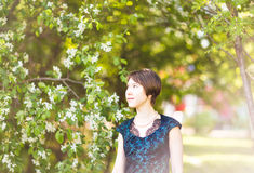 Beautiful young asian woman in flowering spring garden. Stock Images