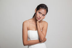 Beautiful young Asian woman get bored. Stock Photography
