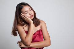 Beautiful young Asian woman get bored. Stock Image