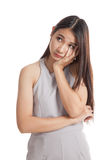 Beautiful young Asian woman get bored Royalty Free Stock Image