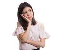 Beautiful young Asian woman get bored. Royalty Free Stock Image